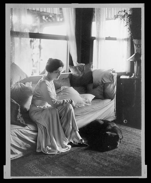 [Lady Lucy Duff-Gordon, full-length portrait, seated, facing right, with a dog at her feet]