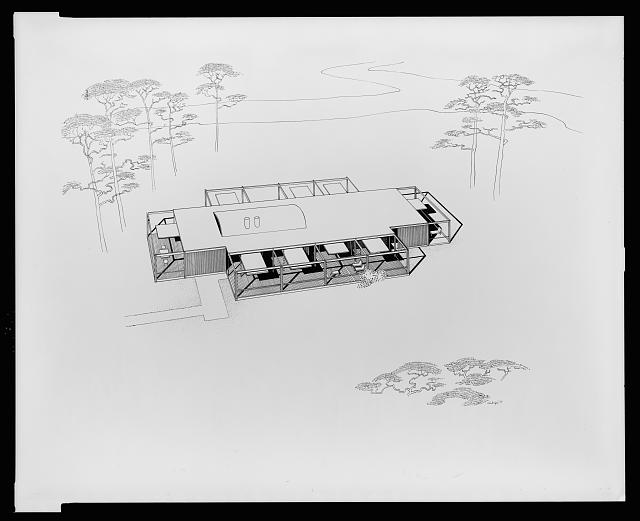 [Davidson residence, Bradenton, Florida. Bird's-eye view perspective. Rendering]
