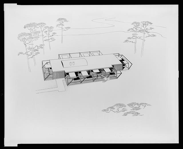 [Davidson residence, Bradenton, Florida. Bird's-eye view perspective. Rendering]