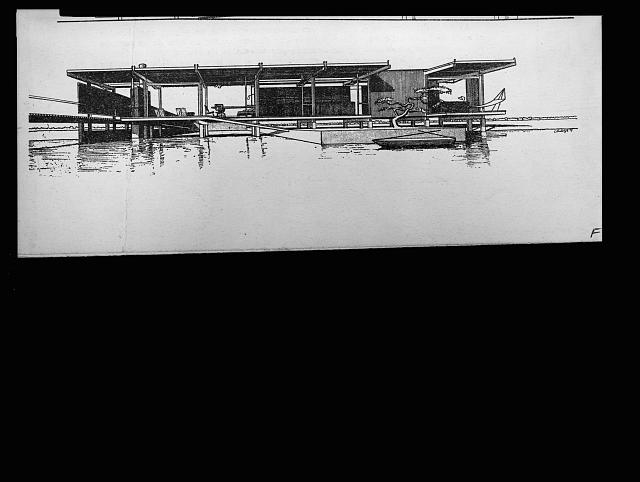 [Finney guest house, Siesta Key, Florida (project). Water front. Rendering (Vue D-B)]