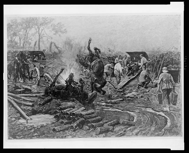 [Scene in a German battery as an explosion kills horses in foreground; in background soldiers continue to load shells into a cannon and carry on with their work]