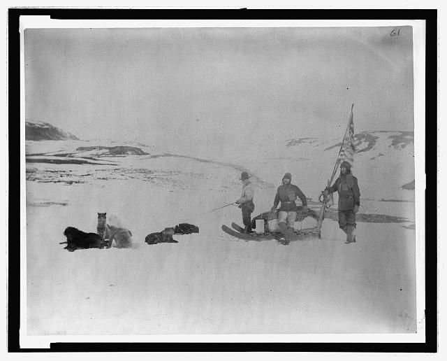 [Lady Franklin Bay Expedition members Lt. Lockwood, Sgt. Brainard, and Eskimo leaving Conger, April]