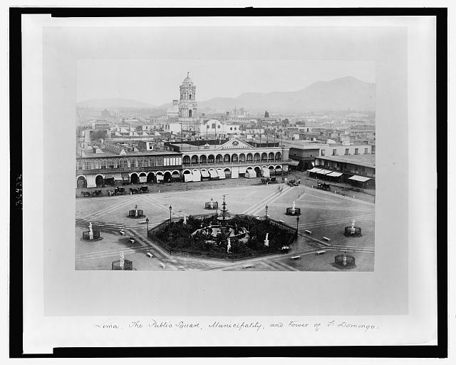 Lima. The public square, Municipality, and tower of St. Domingo