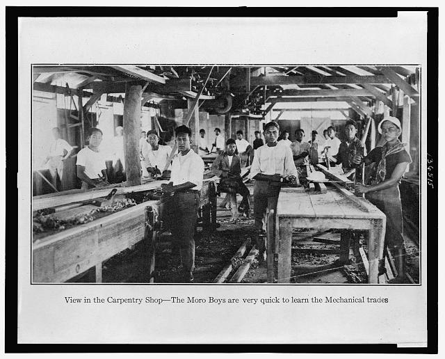[View in the carpentry shop - the Morro boys]