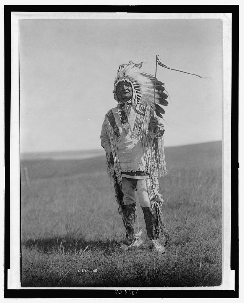 Sitting Bear, Chief of the Arikaras, wearing a medal commemorating Millard Fillmore - Photo by Edward S. Curtis, Library of Congress image