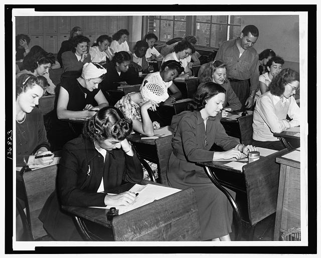 [Women taking the qualifying exam for the New York City police force]
