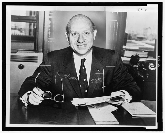 [Jacob K. Javits, Republican senator from New York, seated at desk]