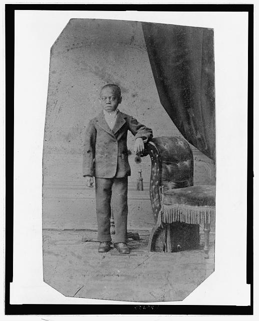 [African American boy, full-length portrait, standing]