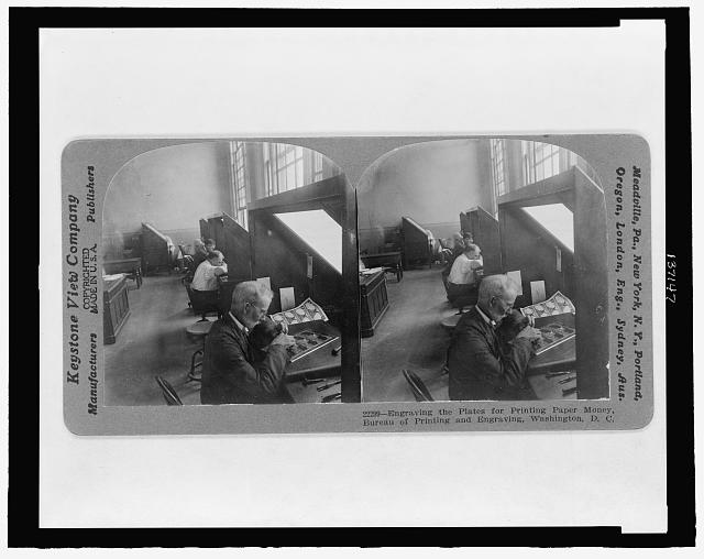 Engraving the plates for printing paper money, Bureau of Printing and Engraving, Washington, D.C.