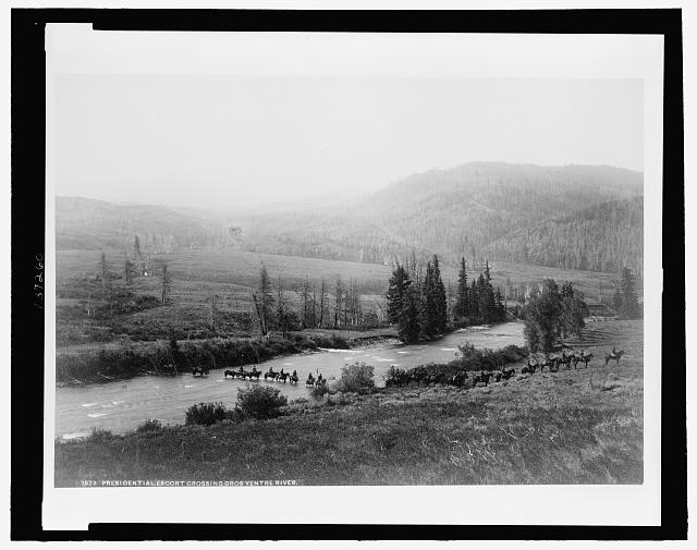 Presidential escort crossing Gros Ventre River