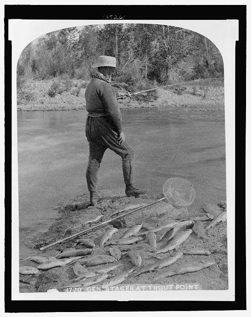 Gen. Stager at trout pond
