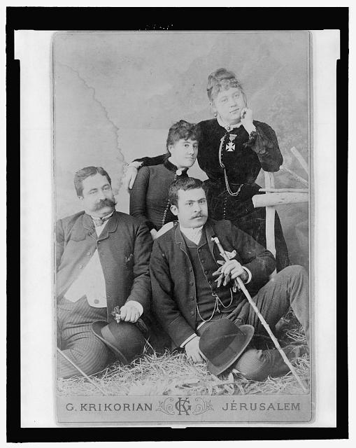 [Studio portrait of Lydia Mamreoff von Finkelstein Mountford (far right) posed with another woman and two men]