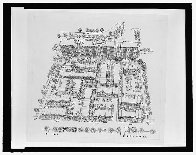 [River Park Cooperative Homes, Washington, D.C. Bird's-eye perspective rendering]