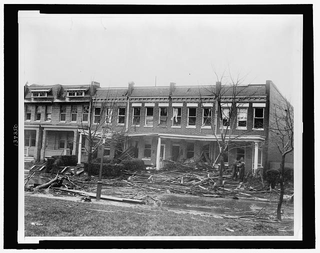 [Row houses at 1216 - 1226 C St. SE, severely damaged by a tornado on Nov. 17, 1927]