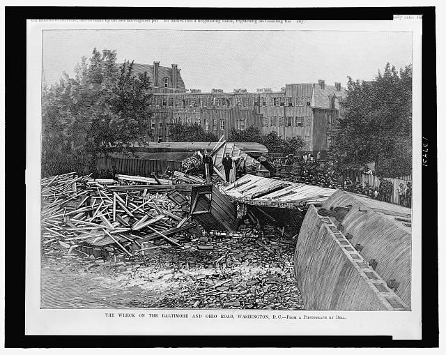 The Wreck on the Baltimore and Ohio Road, Washington, D.C. - from a photograph by Bell