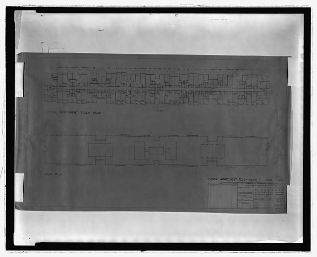 [River Park Cooperative Homes, Washington, D.C. Typical apartment floor plan and roof plan]