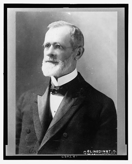 [Professor Cleveland Abbe, first head of U.S. Weather Bureau, head-and-shoulders portrait, facing left]