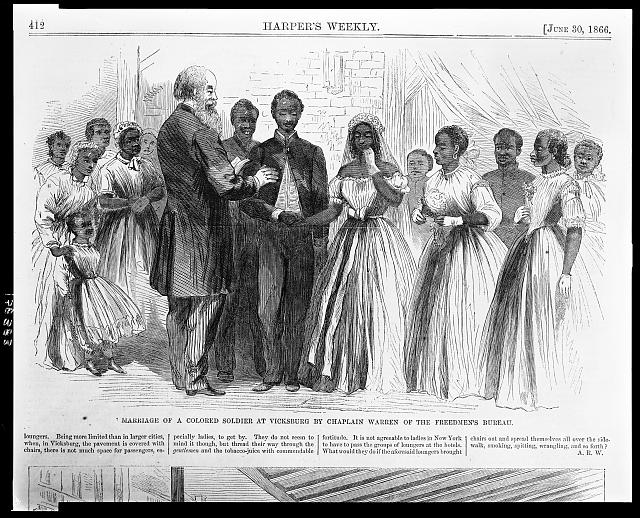 Marriage of a colored soldier at Vicksburg by Chaplain Warren of the Freedmen's Bureau