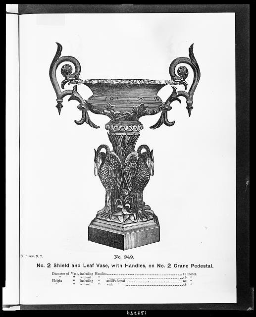 No. 2 shield and leaf vase, with handles, on no. 2 crane pedestal
