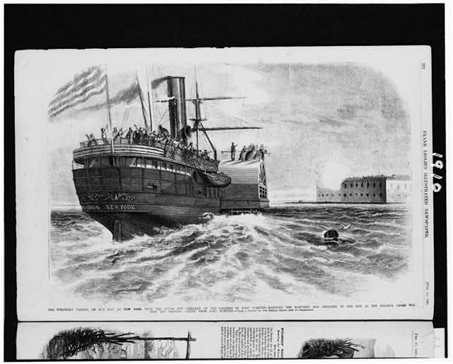 The steamship Marion, on her way to New York with the wives and children of the soldiers in Fort Sumter - manning the ramparts and cheering of the men as the steamer passes the fort the parting salute from Fort Sumpter