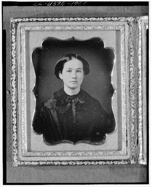 [Unidentified woman, possibly Jane Fiske, head-and-shoulders portrait, full face]