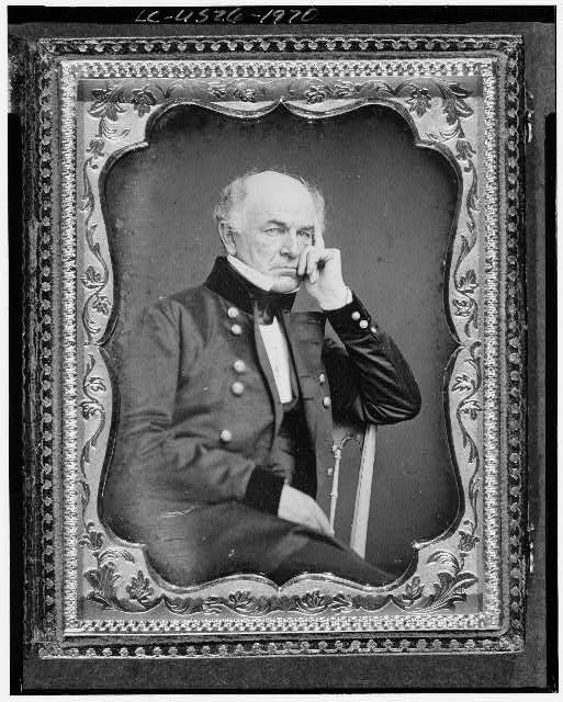 [Ethan Allen Hitchcock, three-quarter length portrait, seated in chair, facing right]