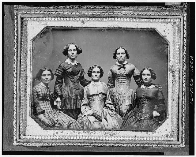 [Clark sisters, five women, three-quarter length portraits, all facing front]