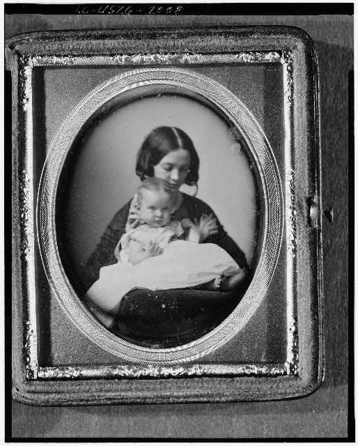 [Gertrude M. Hubbard and baby daughter Mabel]