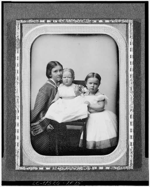 [Gertrude Mercer Hubbard Grossman, Roberta Wolcott Hubbard Bell, and Mabel Hubbard Bell as girls]
