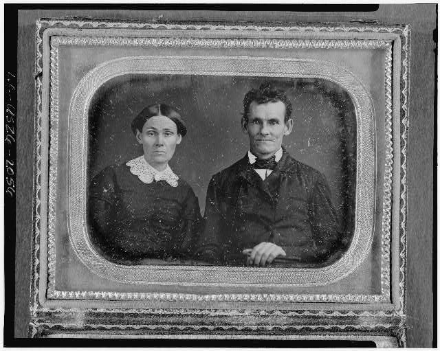 [Unidentified man and woman, head-and-shoulders portrait, facing front]