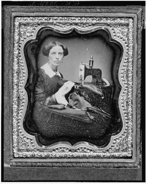 [Occupational portrait of a woman working at a sewing machine]