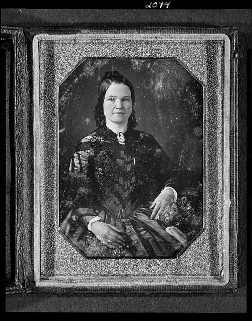 [Mary Todd Lincoln, wife of Abraham Lincoln. Three-quarter length portrait, seated, facing front]