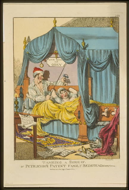 Tameing [i.e. taming] a shrew. Or Petruchio's patent family bedstead, gags & thumscrews