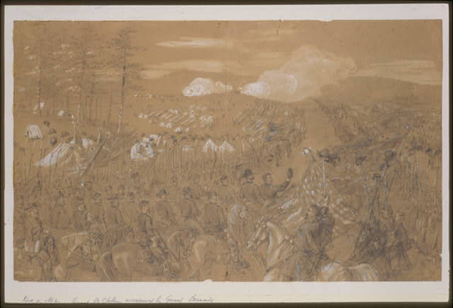 [General McClellan accompanied by General Burnside taking leave of the Army of the Potomac]