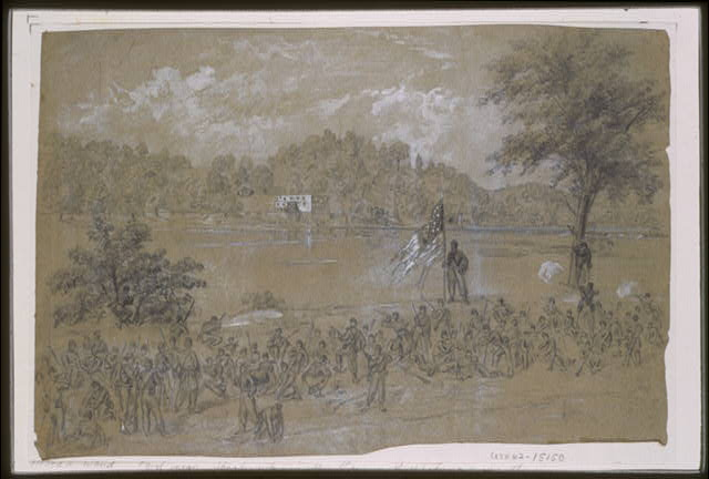 [Ford near Shepherdstown, on the Potomac. Pickets firing across the river]
