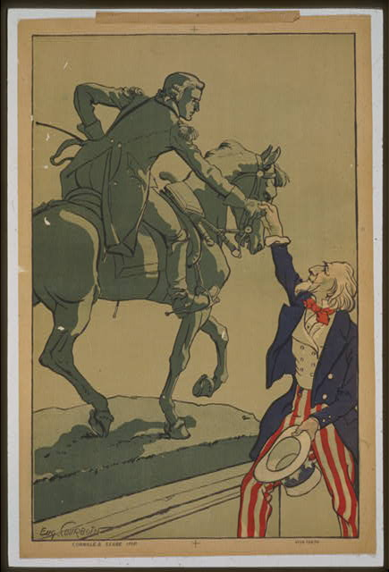 [Uncle Sam shaking hands with the marquis de Lafayette (1757-1834)]