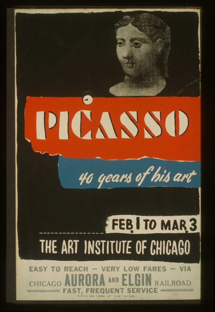 WPA poster for a 1940 Picasso exhibition at the Art Institute of Chicago