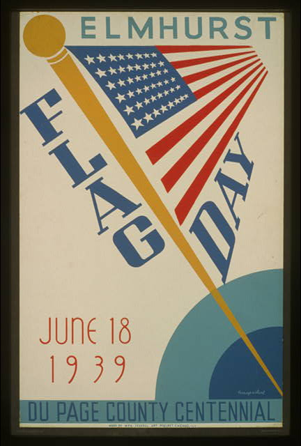Elmhurst flag day, June 18, 1939, Du Page County centennial