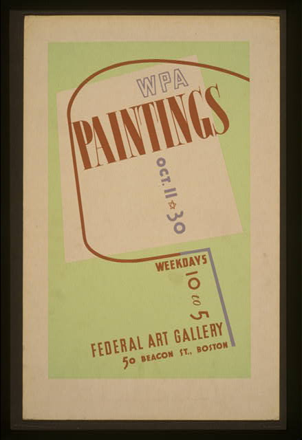 WPA paintings, Federal Art Gallery, 50 Beacon St., Boston