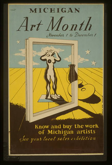 Michigan art month Know and buy the work of Michigan artists : See your local sales exhibition /