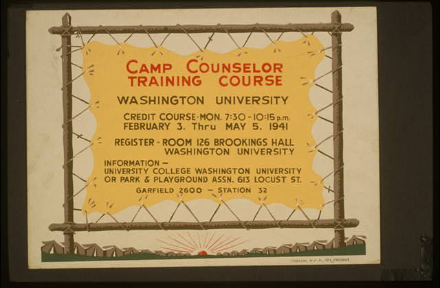 Camp counselor training course, Washington University
