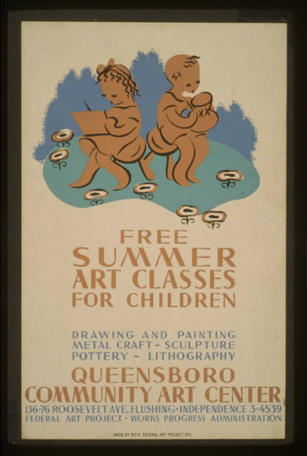 Free summer art classes for children Drawing and painting, metal craft - sculpture, pottery - lithography : Queensboro Community Art Center.