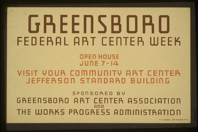 Greensboro Federal Art Center week Open house June 7-14 : Visit your community art center, Jefferson Standard Building.