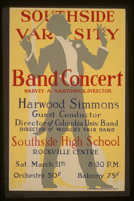 Southside Varsity Band concert, Harvey A. Sartorius, director, Southside High School, Rockville Centre Harwood Simmons, guest conductor.