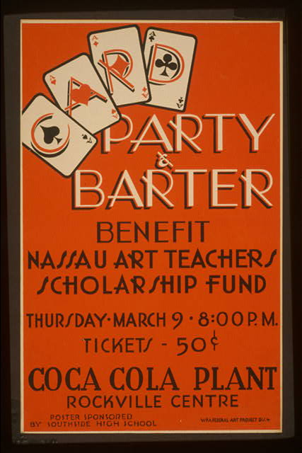 Party & barter - benefit Nassau art teachers scholarship fund Coca Cola Plant, Rockville Centre.