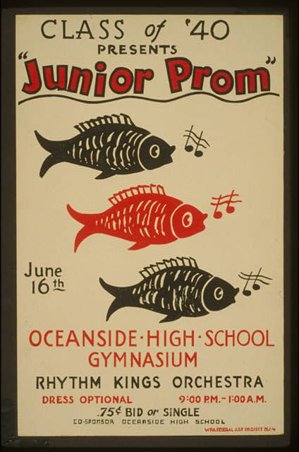 "Class of '40 presents ""Junior prom"" Oceanside High School gymnasium : Rhythm Kings Orchestra."