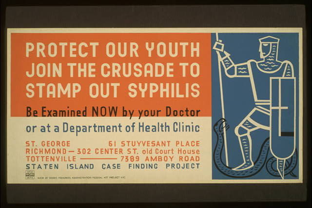 Protect our youth Join the crusade to stamp out syphilis : Be examined now by your doctor or at a Department of Health clinic.