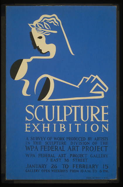 Sculpture exhibition A survey of work produced by artists in the Sculpture Division of the WPA Federal Art Project.