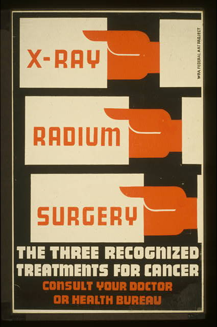 X-Ray, radium, surgery - the three recognized treatments for cancer Consult your doctor or health bureau.