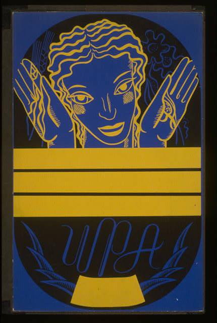 [WPA poster design on blue background showing the head and hands of a woman holding flowers and wheat above a blank banner]